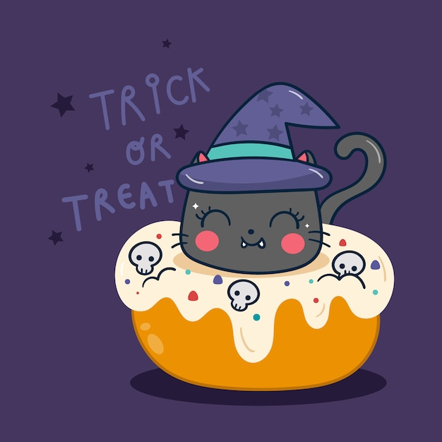 Chat Mignon Halloween Avec Dessin Animé Citrouille Cupcake Vecteur Premium