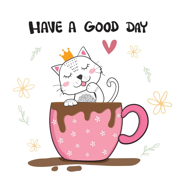 Chat mignon lécher la main dans une tasse de café, dessinés à la main Vecteur Premium
