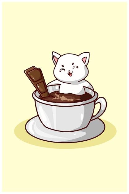 Un Chat Mignon Nageant Dans Un Café Avec Du Chocolat Vecteur Premium