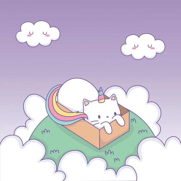 Chat mignon avec queue arc-en-ciel dans une boîte en carton personnage kawaii Vecteur Premium