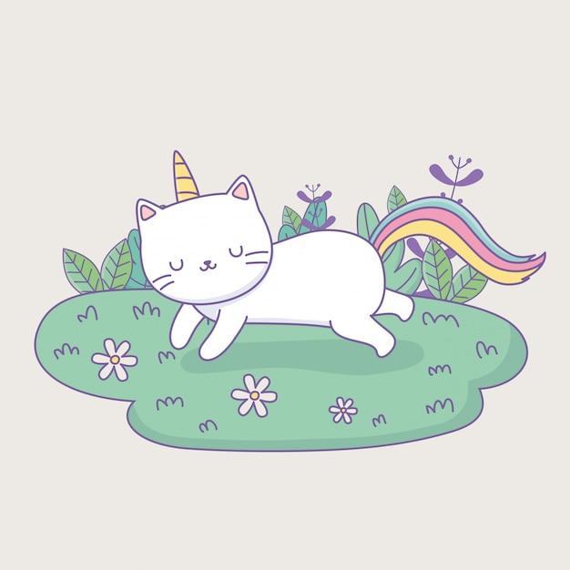 Chat mignon avec queue arc-en-ciel dans le personnage du camp kawaii Vecteur Premium