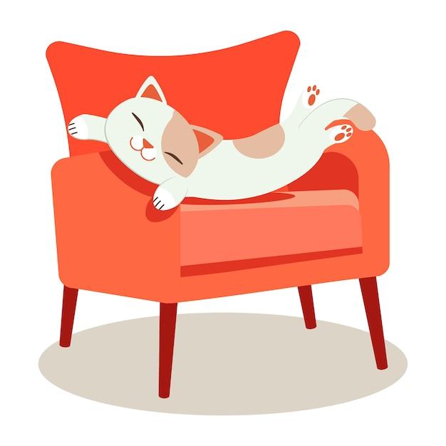 Un Chat Mignon Qui Dort Sur Le Canapé Rouge Et Qui A L'air Relaxant Vecteur Premium