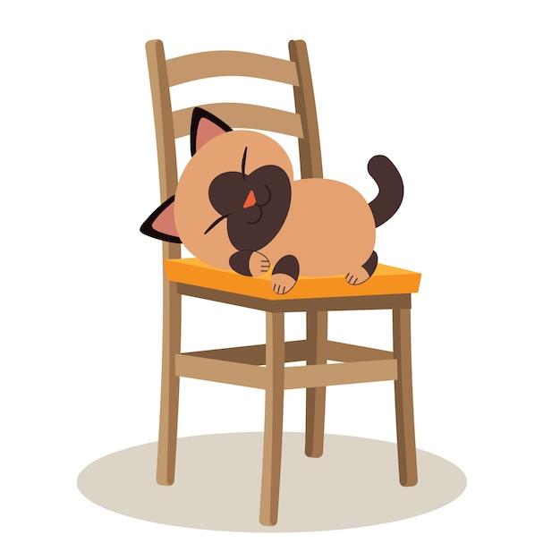 Un Chat Mignon Qui Dort Sur La Chaise Et Qui A L'air Relaxant Vecteur Premium