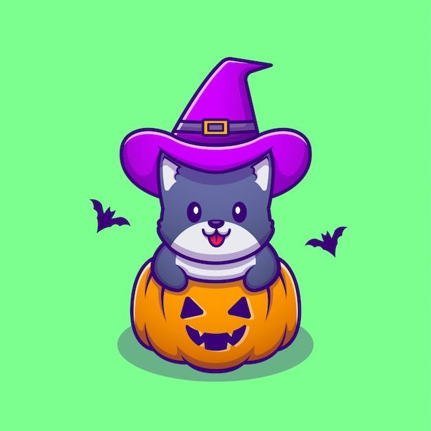 Chat Mignon Sorcière Avec Citrouille Halloween Cartoon Icon Illustration. Animal Halloween Icon Concept Premium. Style De Bande Dessinée Vecteur Premium