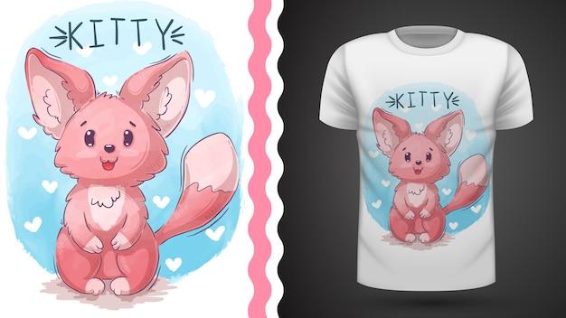 Chat, minou, renard - idée d'un t-shirt imprimé Vecteur Premium