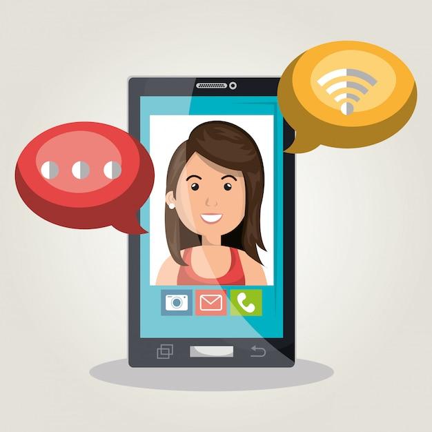 Chat mobile Vecteur gratuit