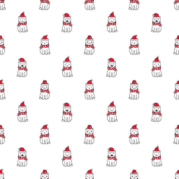 Chat Modèle Sans Couture Noël Père Noël Chaton Dessin Animé Vecteur Premium