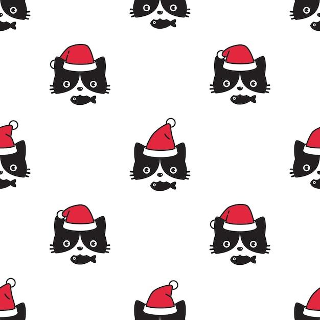 Chat, Modèle Sans Couture, Noël, Père Noël, Chaton, Figure Vecteur Premium