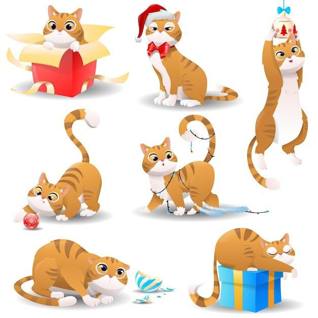 Chat De Noël De Dessin Animé Vecteur Premium