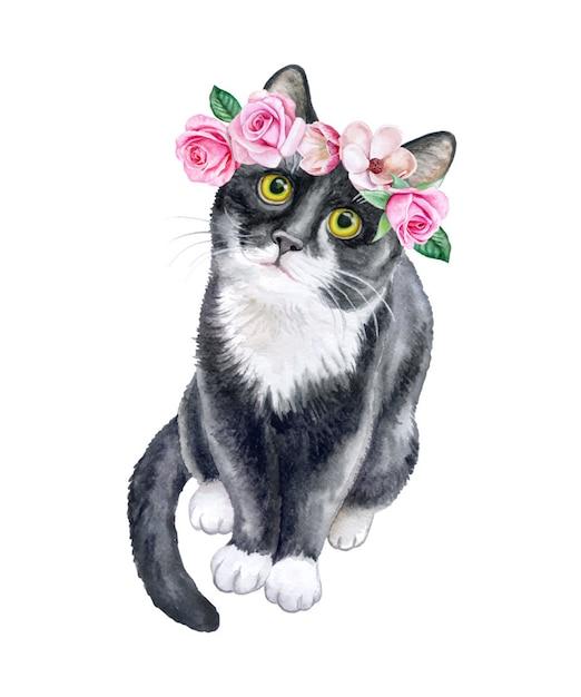 Chat noir dans une couronne de fleurs. couronne de roses. aquarelle Vecteur Premium
