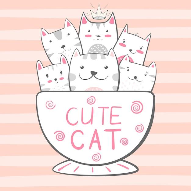 Chat, personnages de chat. illustration de café et de thé Vecteur Premium