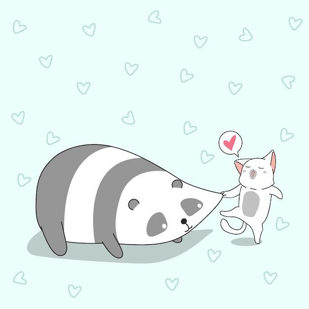 Le chat pince les joues de panda. Vecteur Premium