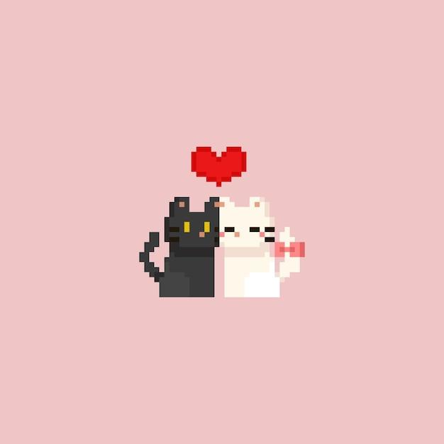 Chat pixel blanc et gris pixel avec coeur rouge. la saint valentin. Vecteur Premium