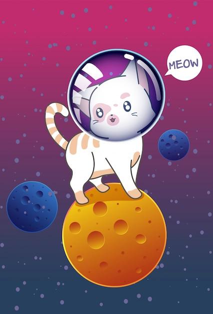 Chat sur la planète dans l'espace. Vecteur Premium
