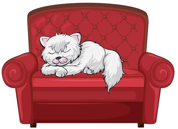 Un chat profondément endormi sur la chaise Vecteur gratuit