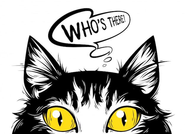 Le Chat Qui Regarde. Vecteur Premium