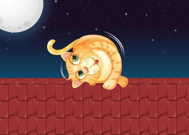 Un chat qui roule sur le toit Vecteur gratuit