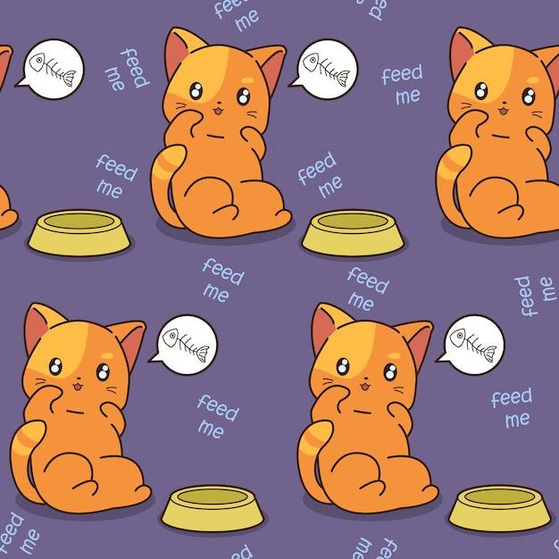 Le chat sans couture est un motif affamé. Vecteur Premium