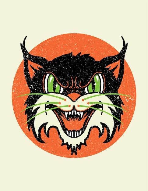 Chat sauvage vieille école Vecteur Premium