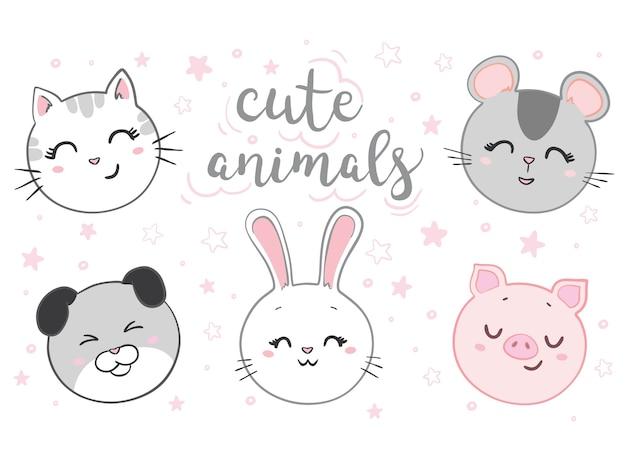 Chat, Souris, Chien, Lapin, Ensemble De Visage De Cochon. Animal Kawaii. Personnage De Dessin Animé Mignon. Vecteur Premium