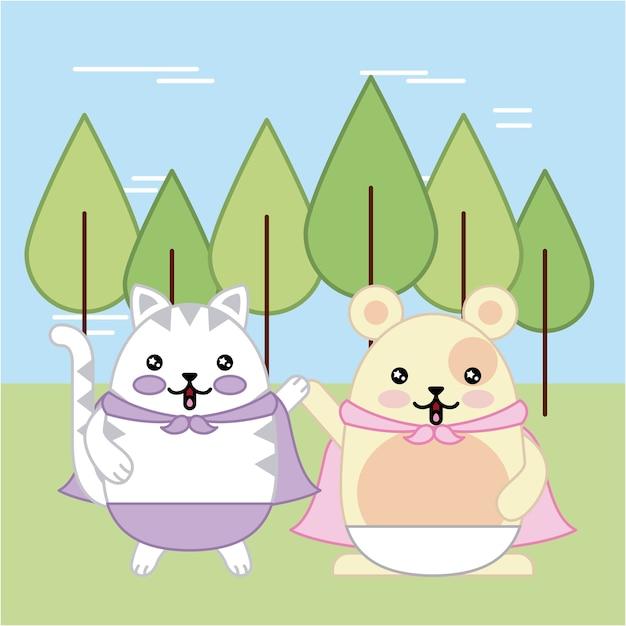 Chat et souris kawaii en dessin animé animal de forêt Vecteur Premium