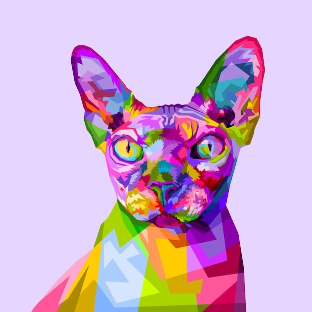 Chat sphynx coloré sur un style pop art Vecteur Premium
