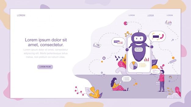 Chat support smart chatbot Vecteur Premium