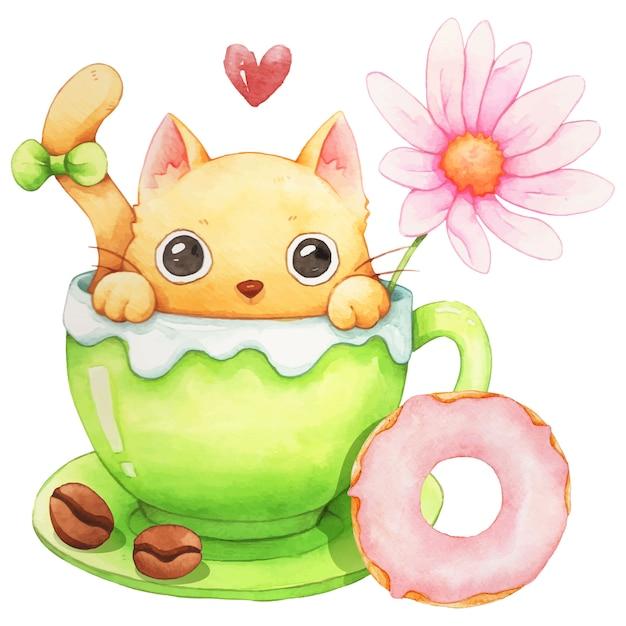 Chat, Tasse à Café Et Aquarelle De Beignet Vecteur Premium