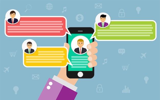 Chat sur téléphone portable Vecteur Premium