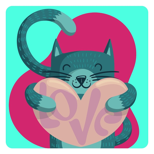 Chat valentines Vecteur Premium