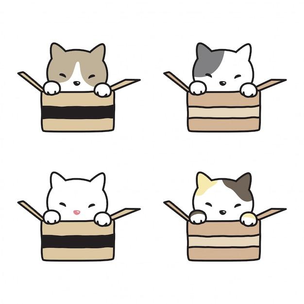 Chat vecteur chaton calicot dessin animé Vecteur Premium