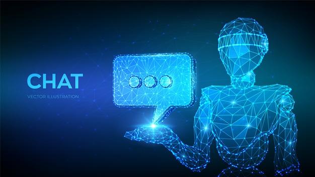 Chatbot. Abstraite 3d Faible Robot Polygonale Tenant L'icône De Chat. Vecteur Premium
