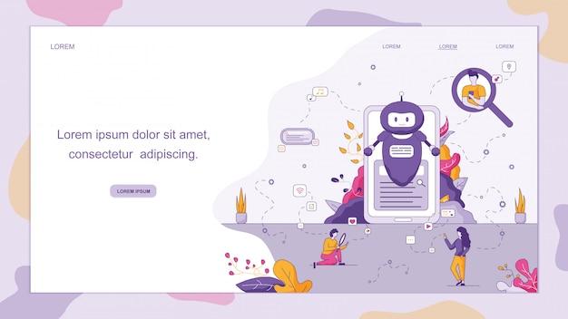Chatbot intelligent à votre entreprise. Vecteur Premium