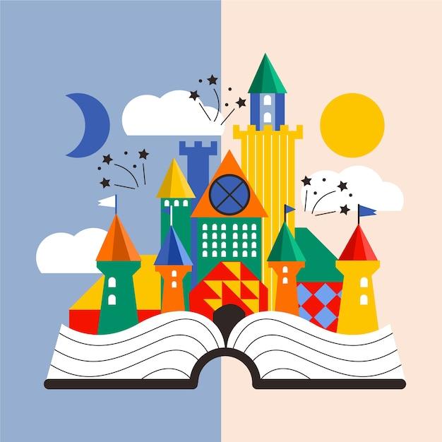 Château De Conte De Fées Créatif Dans Un Livre Vecteur gratuit