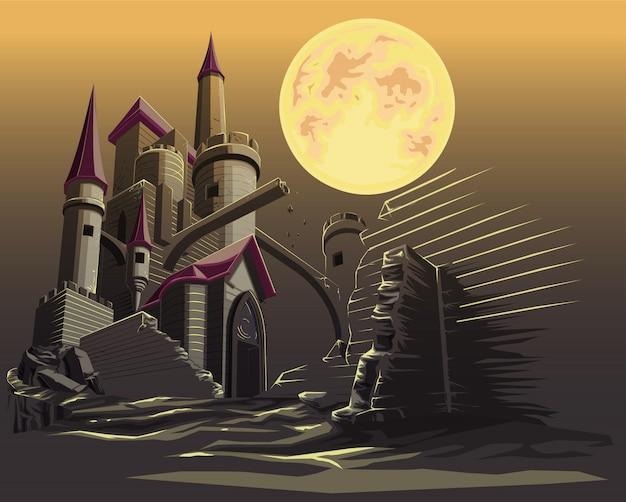 Château dans la nuit noire et la pleine lune. Vecteur Premium