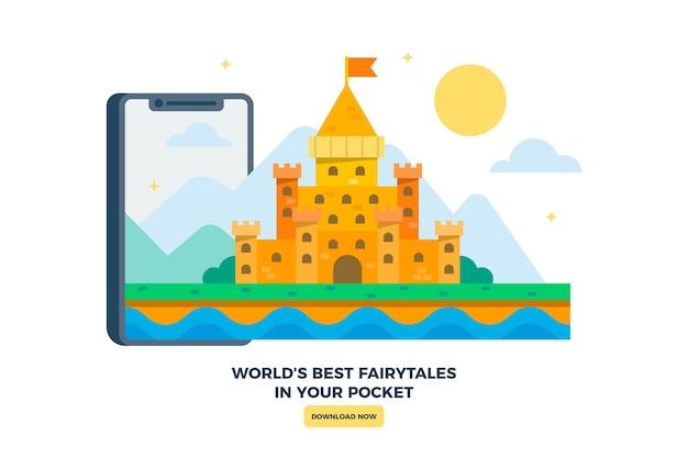 Château Du Royaume Illustré Avec Smartphone Vecteur gratuit