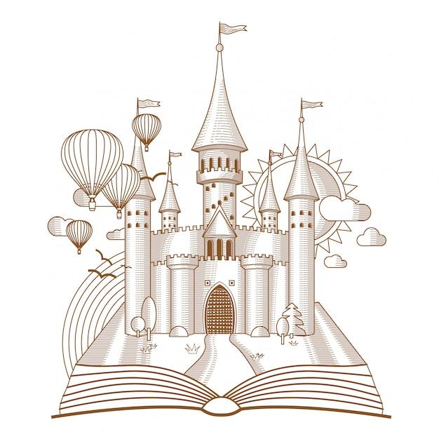 Château féerique apparaissant dans le livre ancien mono dessin au trait Vecteur Premium
