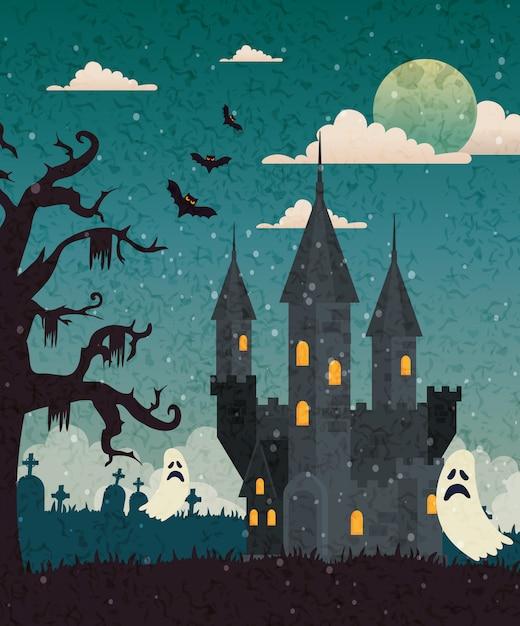 Château hanté avec cimetière et fantôme dans une scène d'halloween Vecteur gratuit