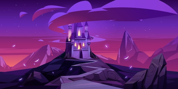 Château Magique De Dessin Animé Dans Les Montagnes La Nuit Vecteur gratuit