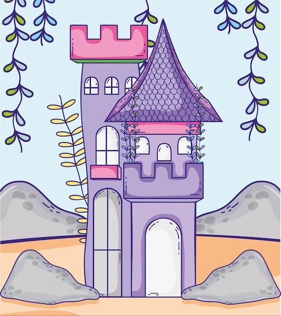 Château médiéval avec branches plantes plantes feuilles Vecteur Premium