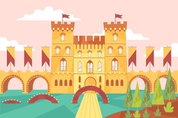 Château Et Rivière De Conte De Fées Vecteur gratuit