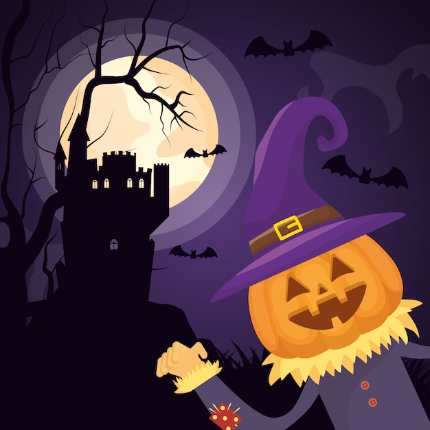 Château sombre halloween avec personnage de citrouille Vecteur gratuit