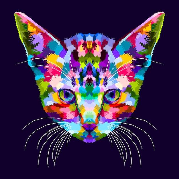 Chaton coloré sur le pop art abstrait Vecteur Premium