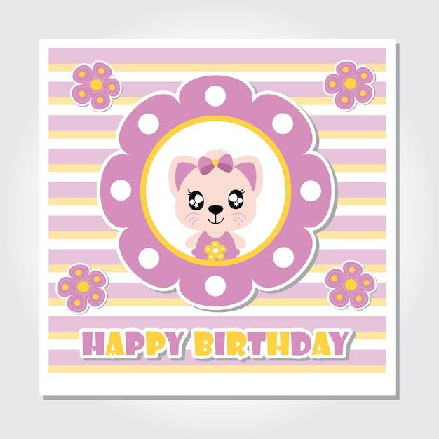 Chaton mignon avec des fleurs violettes vector illustration de chaton mignon avec des fleurs violettes vector illustration de dessin anim pour carte dinvitation stopboris Images