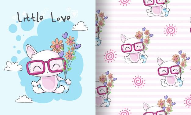 Chaton mignon avec illustration de modèle sans couture de fleur pour les enfants Vecteur Premium