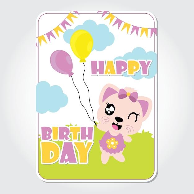 Chaton mignon joue des ballons vector illustration de dessin anim chaton mignon joue des ballons vector illustration de dessin anim pour carte dinvitation anniversaire stopboris Images