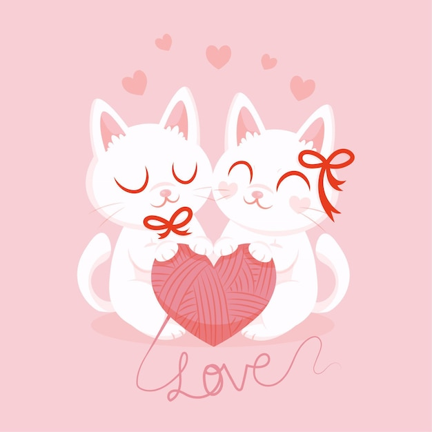 Chatons Aquarelle Saint Valentin Amoureux Vecteur gratuit