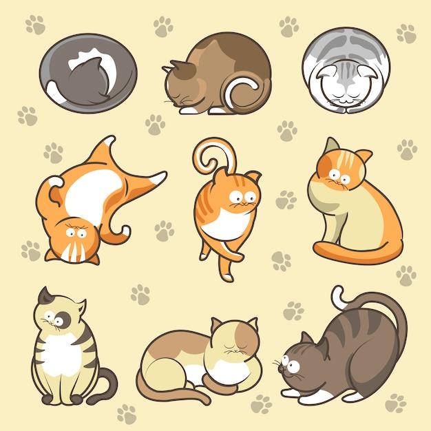 Chatons de dessin animé dans différentes poses vector icons set Vecteur Premium