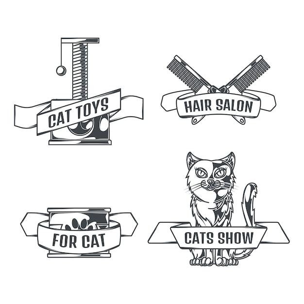 Chats Et Accessoires Ensemble De Logos Dans Un Style Vintage Vecteur gratuit