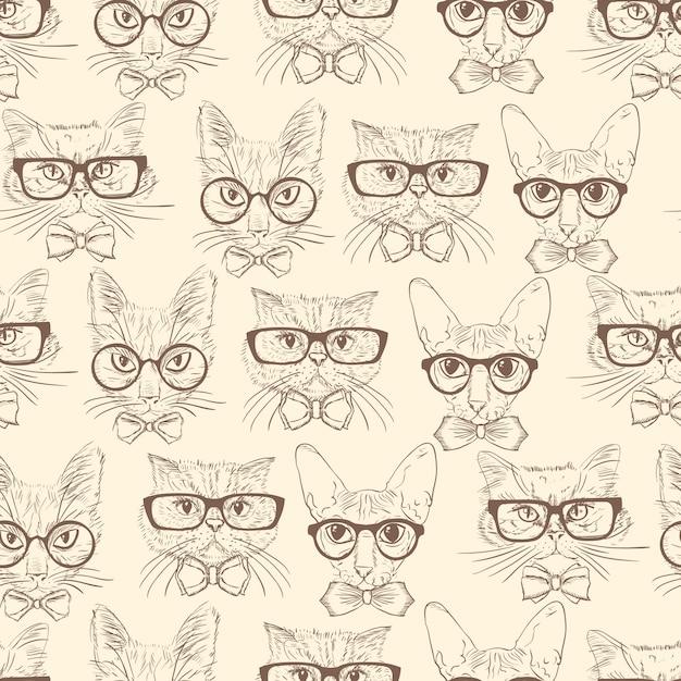 Chats dessinés à la main de modèle sans couture avec accessoires hipster Vecteur gratuit